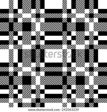 Seamless Checkered Background. Vector Monochrome Texture - stock vector