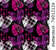 seamless checkered hearts with stars pattern - stock vector