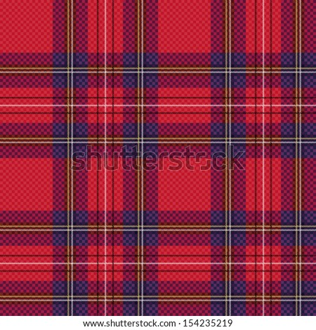 Seamless checkered shades of red and blue vector pattern as a tartan plaid - stock vector