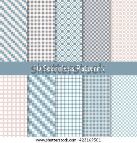 Seamless Checkered Vintage Pattern Set. Repetitive Textures Collection. Plaid Tartan Ornaments .  Abstract Vector  Pastel Backgrounds - stock vector