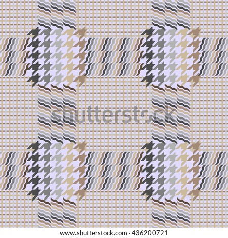 Seamless checkered woolen pattern. Classical English hounds tooth print Prince of Waves. Retro textile design collection. Checkers, stripes print for coat, shirt, jacket, plaid, classical suits.Beige.