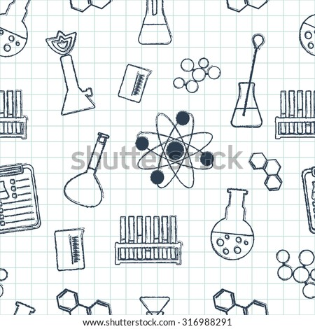 Seamless chemical pattern. Chemical glassware and reagents. Hand-drawn elements. Flat design. Vector illustration