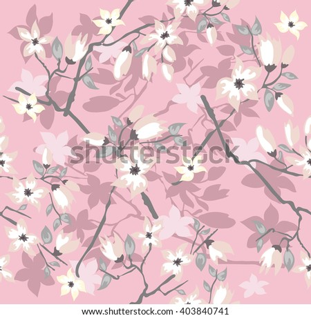 Seamless cherry blossom flowers pattern.