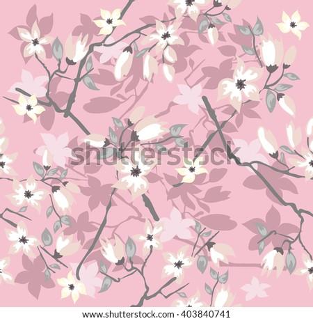 Seamless cherry blossom flowers pattern. - stock vector
