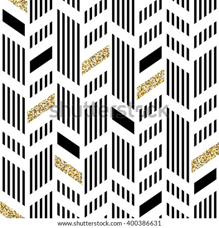 Seamless Chevron Pattern. Art Deco Abstract Background. Glittering Gold Foil - stock vector