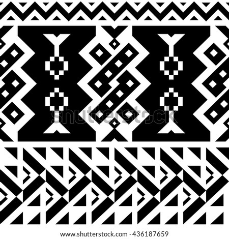 Seamless Chevron Vector Pattern for Textile Design. Black and White Mix of Triangles, Stripes and another Shapes - stock vector