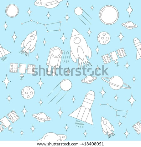 Seamless children cartoon space pattern. Background with space rocket, astronaut, stars, interstellar, planets and spaceship. Line vector illustration.