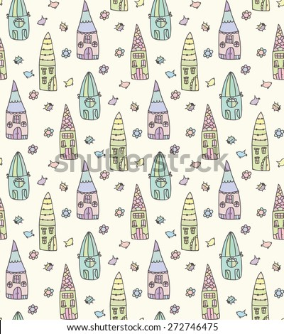 Seamless children pattern with cute colored blue, green, pink, yellow houses Vector illustration eps 10 - stock vector