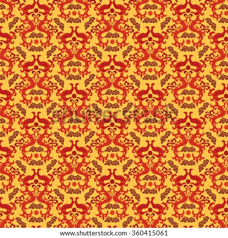Seamless Chinese asian dragon style seamless pattern background. Traditional vector ornament - stock vector