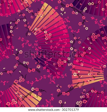 seamless Chinese floral pattern.Cherry blossom with fan background.  - stock vector