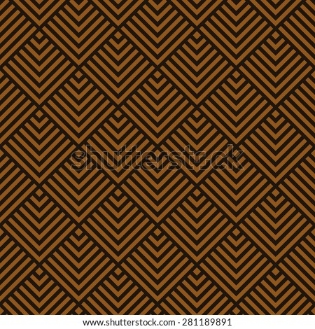 Seamless chocolate brown art deco square chevrons pattern vector - stock vector
