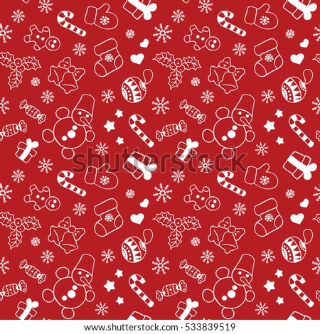 Seamless Christmas and New Year pattern for gift box and wrapping paper. Vector. Red and white