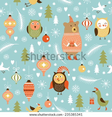 seamless Christmas and New Year's background  - stock vector