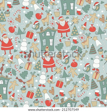 Seamless christmas background cute santa claus, deer, snowman, red holy berry, trees, snowballs, snowflakes, gift boxes, christmas sock and other christmas attributes - stock vector