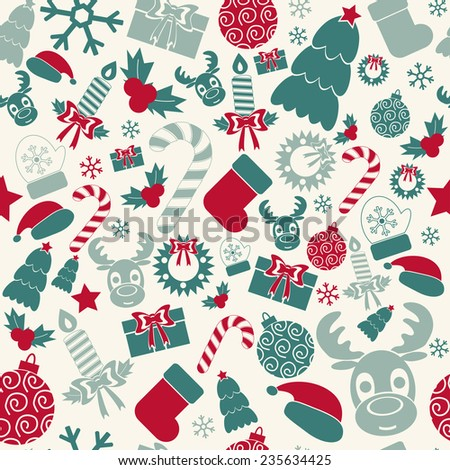 Seamless Christmas background. Retro colors. Vector illustration - stock vector
