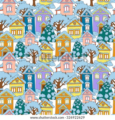 Seamless Christmas background with colored houses and Christmas trees. Winter holidays. Vector illustration.
