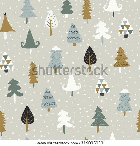 Seamless christmas background with cute christmas trees and falling snow - stock vector