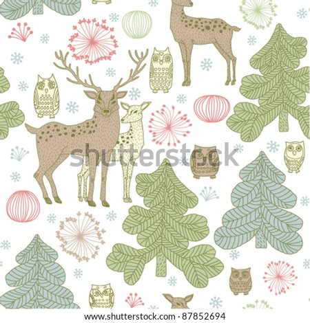 seamless christmas background with deers - stock vector