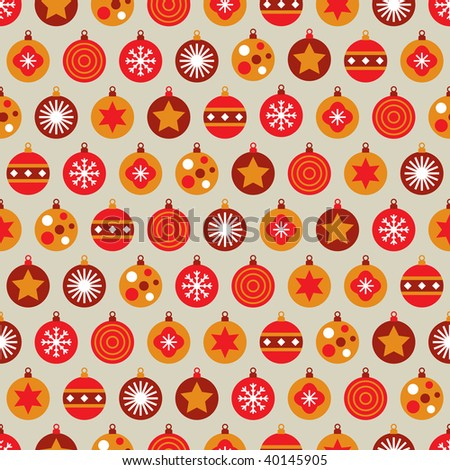 seamless christmas bauble pattern with clipping path - stock vector