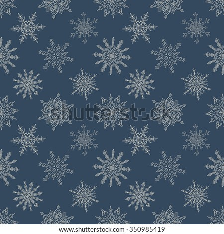 Seamless Christmas dark pattern with random drawn snowflakes