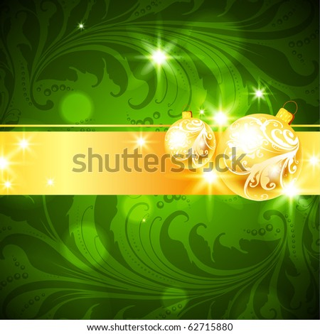 Seamless Christmas Floral Pattern with leafs, flowers and xmas balls. Green and golden. eps 10. - stock vector