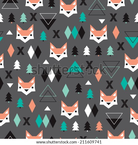 Seamless christmas fox geometric illustration modern trend background pattern in vector - stock vector