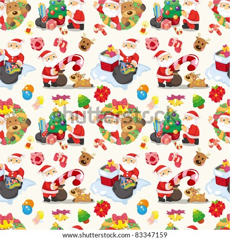 Seamless Christmas funny cartoon - stock vector