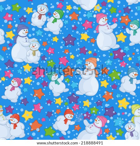 Seamless Christmas holiday background, cartoon snowmen and stars. Vector - stock vector