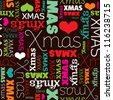 Seamless christmas holiday typography background pattern in vector - stock vector