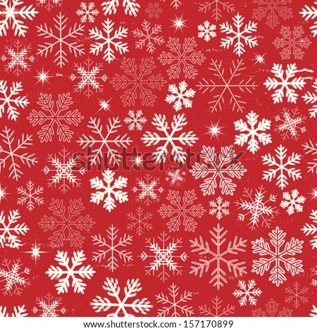 Seamless Christmas Holidays Background/ Illustration of a seamless wallpaper background of white winter snowflakes for christmas and new year's eve holidays - stock vector