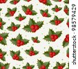 seamless christmas holly pattern with clipping mask - stock vector