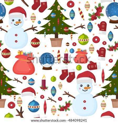 Seamless Christmas pattern greeting card winter holiday. Traditional card season christmas pattern winter holiday decoration. Xmas design wallpaper christmas pattern new year celebration vector.