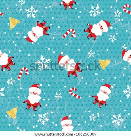 Seamless Christmas pattern on grunge background. EPS 10 vector illustration - stock vector
