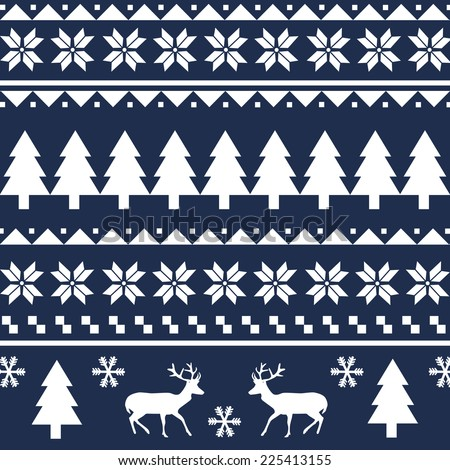 Seamless Christmas pattern or scandynavian pattern, vector illustration - stock vector