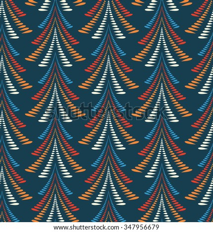 Seamless Christmas pattern. Trees, firs on dark blue background. Stylized ornament of laurel leaves. Winter, New Year texture. Blue, orange, red and white colors. Vector  - stock vector