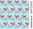 Seamless  Christmas pattern with birds. Seamless winter pattern. Vector - stock photo