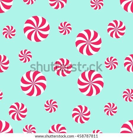 Seamless Christmas pattern with candy on mint green background. Happy New Year and Merry Xmas background. Vector winter holidays print for textile, wallpaper, fabric, wallpaper. - stock vector