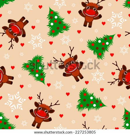 Seamless Christmas pattern with cartoon Reindeer and Christmas tree