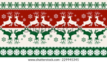 Seamless Christmas pattern with deers - stock vector