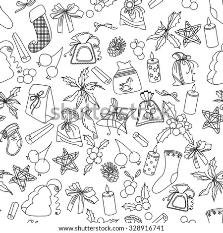 Seamless Christmas pattern with different black and white objects. Endless festive texture for design, announcements, postcards, posters. - stock vector