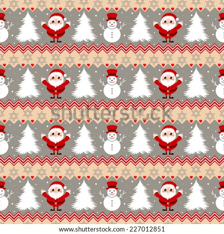 Seamless Christmas pattern with Santa Claus and Snowman characters - stock vector