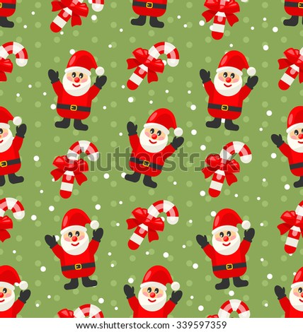 Seamless Christmas pattern with Santa Claus snow and candy cane, Xmas background - vector - stock vector