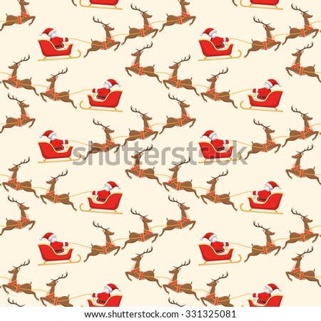 Seamless Christmas Pattern with Santa on Sleigh and His Reindeers Isolated on Beige Background - stock vector