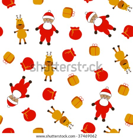 Seamless christmas pattern with Santa, Rudolph and gifts; vector illustration - stock vector