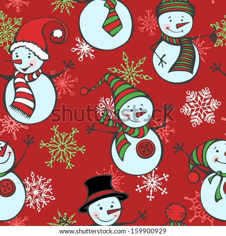 Seamless Christmas pattern with snowmen and snowflakes. EPS 8. Winter background. Cute cartoon snowmen in vector on red background. - stock vector