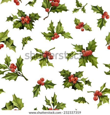 Seamless Christmas pattern with words and holly berry vector illustration. Elegance wallpaper with  holly berry. Decorative vector illustration. - stock vector