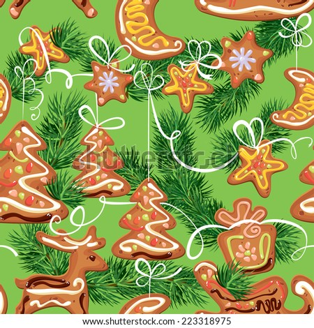seamless christmas pattern - xmas gingerbread on green background - cookies in reindeer, star, moon and fir-tree shapes.  - stock vector