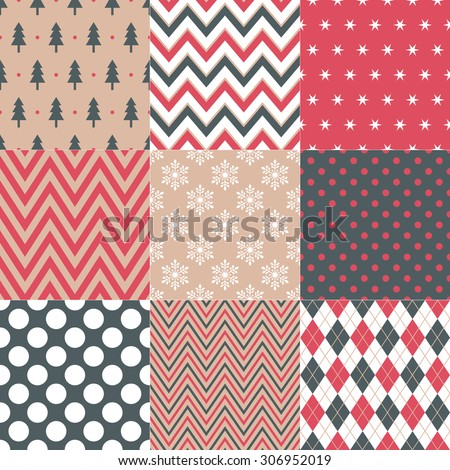 seamless christmas symbol pattern in retro color - stock vector