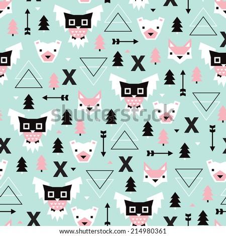 Seamless Christmas time geometric pastel Scandinavian style owl bear fox illustration background pattern in vector - stock vector