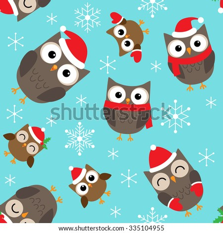 Seamless Christmas vector pattern with cute owls - stock vector